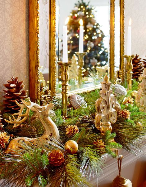 Traditional home ceramic reindeer fleur de lis stocking for Brass stocking holders fireplace