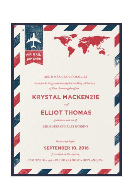 """Brides.com: . """"Air Mail"""" destination wedding invitation, $15 per suite, Party Glamour Shop"""