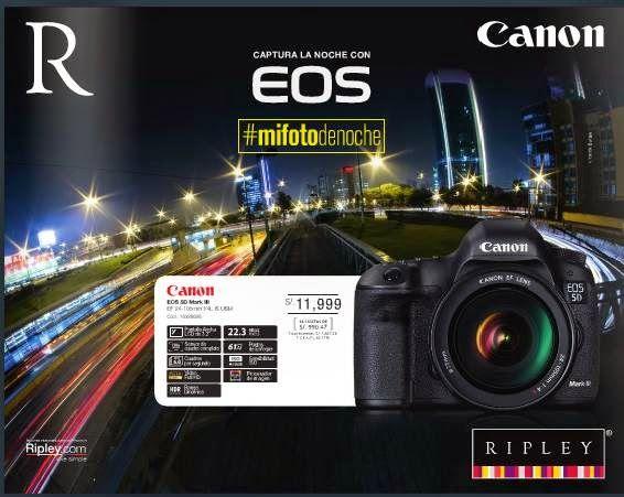 Catalogo Ripley Especial Camaras Fotograficas Canon 11-2014. Precio de la Cámara Canon EOS 5D Mark III, s/.11.999.