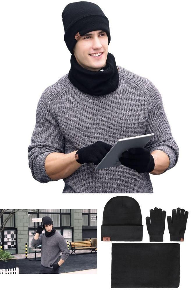 Superior 3 Pieces Set Soft Winter Men Beanie Hat + Scarf + Touch Screen Gloves  #FantasticZone #TouchScreenGloves