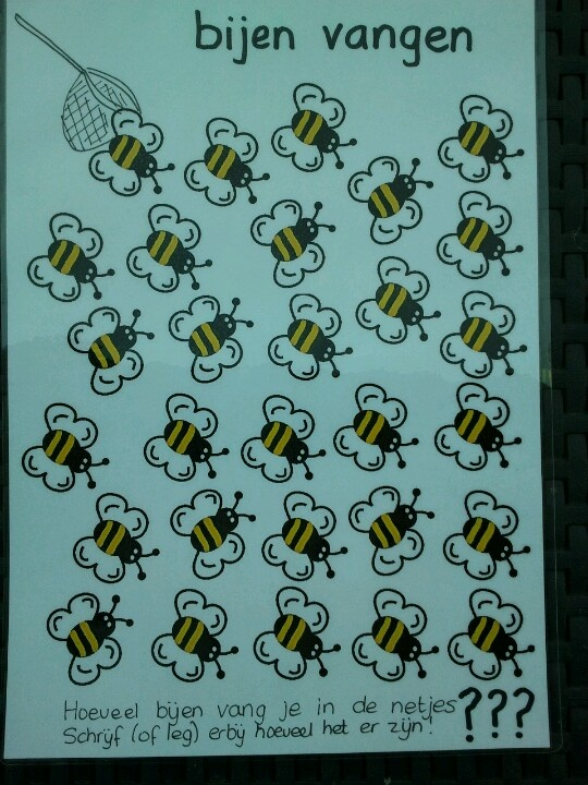 Hoeveel bijen vang je per netje? schrijf het erbij met je uitwisbare marker!