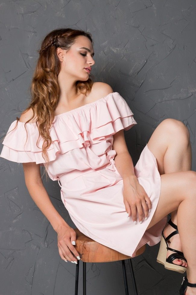 Off Shoulder Dirty Pink Dress