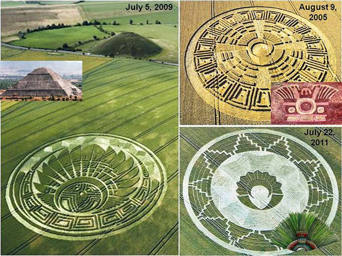 """A visual comparison of three """"Mayan"""" crop pictures with true archaeological symbols from ancient central America: who could have made them? by Red Collie (Dr. Horace R. Drew)"""