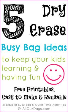 5 Dry Erase Busy Bag Ideas - With link to page to