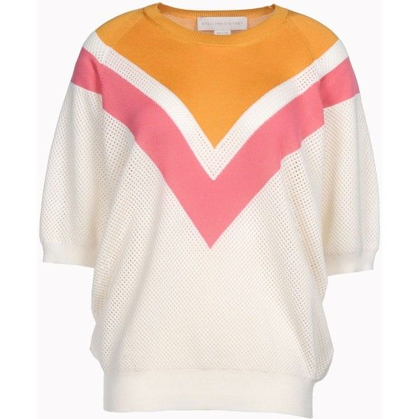 Stella Mccartney Colour Degrade Short Sleeved Sweater ($352) ❤ liked on Polyvore featuring tops, sweaters, multicolor, multi color sweater, multicolor sweater, multi colored striped sweater, color-block sweater and short sleeve tops