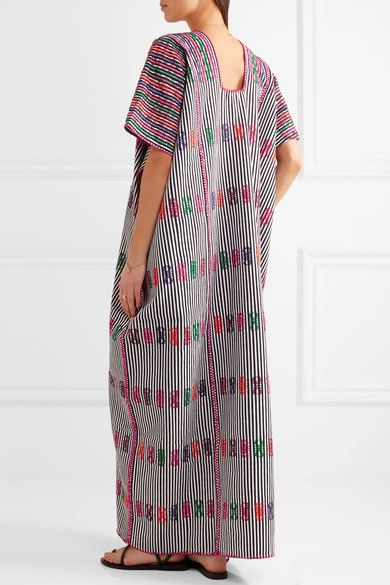 Pippa Holt - Embroidered Striped Cotton Kaftan - Black - One size