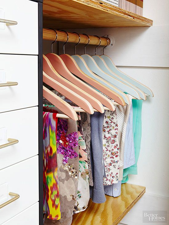 Wood hangers keep freshly pressed clothing wrinkle-free while supplying sturdy silhouettes that allow clothing to breathe. Opt for hangers of different colors to visually separate his from hers, group seasonal items, or coordinate accessories and apparel./