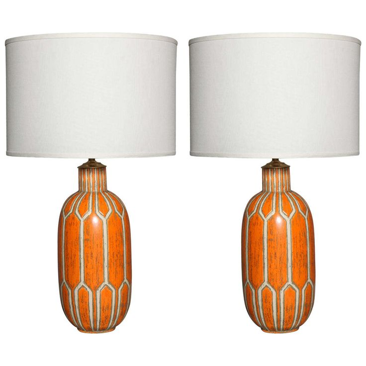 Pair of Orange Ceramic Lamps | From a unique collection of antique and modern table lamps at https://www.1stdibs.com/furniture/lighting/table-lamps/