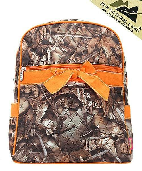 Camouflage Print Quilted Backpack Orange Trim