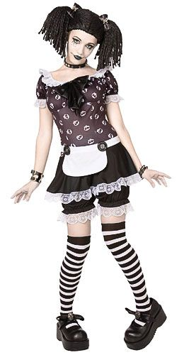 Gothic Doll Costume - How cute is that!!! I love that it comes with bloomers and not just a mini, too.