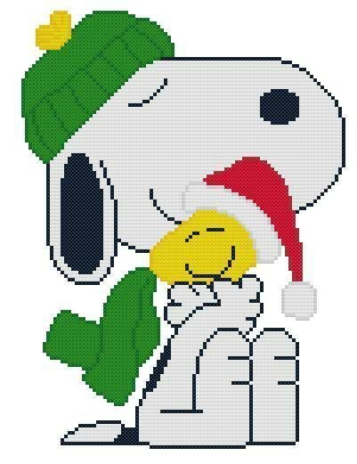 Cross Stitch Knit Crochet Plastic Canvas Waste Canvas Rug Hooking and Bead Work Pattern  Snoopy and Woodstock.  Nothing says Christmas like a nice warm hug!  https://www.pinterest.com/resparkled/