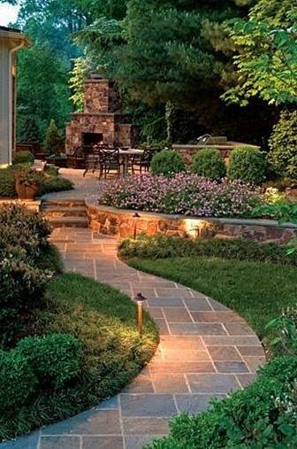Pathways Design Idea... I like the idea for lighting around the seating area for our patio