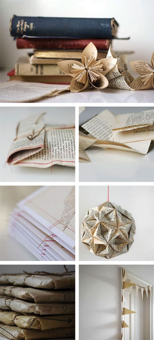 Reusing old book pages! Love the vintage look, but I don't know if I could bring myself to rip the pages out of any of my books. Maybe junk romances from the thrift store? Lol.