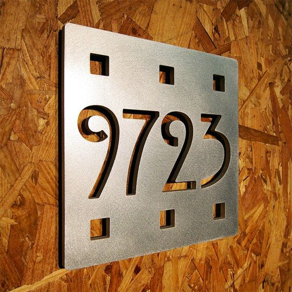 Of front door custom mission square house number sign in aluminum