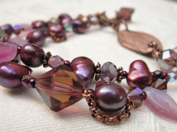 Metal Clay Leaf BraceletBeaded Bracelet Double by KartisimDesign, $55.00