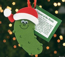 German Christmas Pickle Tradition - Germans hang a pickle-shaped ornament on the Christmas tree hidden away so it's difficult to find. The first child to find it on Christmas morning gets a special treat or an extra present!
