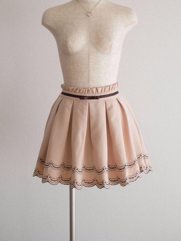 🌷Prime Pattern🌷 Scalloped Embroidery Flower Bow Skirt Sukapan Japan M Romantic #PrimePattern #PleatedScalloped #HarajukuLolitaFashion