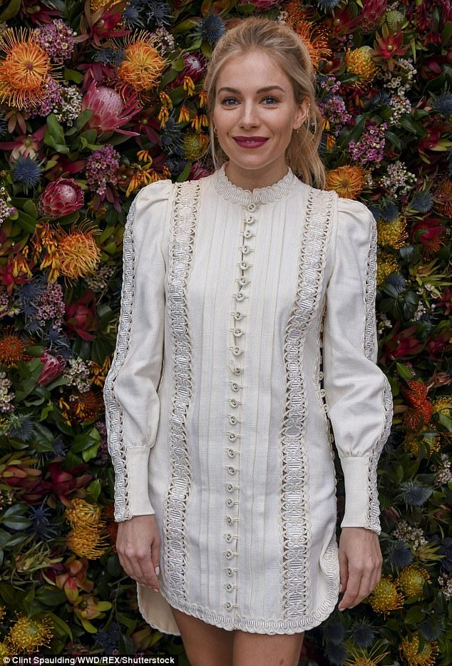 Prepare for summer in a white embroidered dress like Sienna #DailyMail #fashion #dress #style #zimmermann #siennamiller