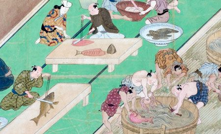 Hishikawa Moronobu, A Visit to the Yoshiwara (detail). Handscroll; ink, color and gold on paper. c. 1680. John C. Weber Collection. JASA at the Forefront: Celebrating the Fortieth Anniversary of the Japanese Art Society of America