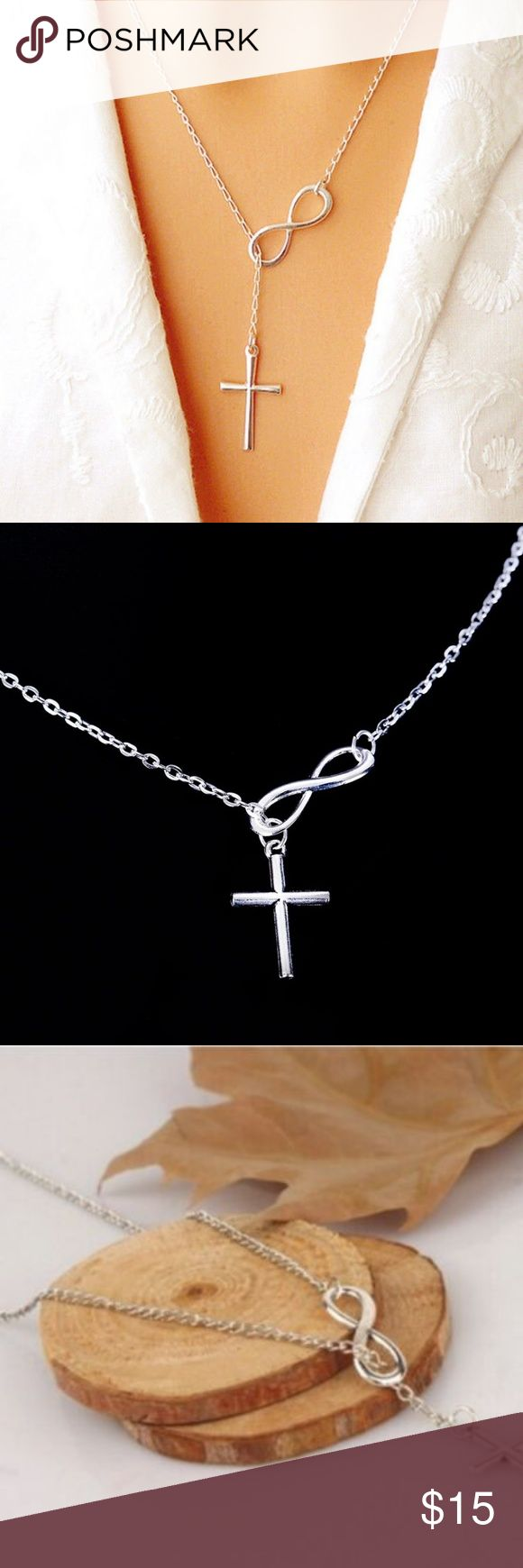 "Silver Plated Infinity Cross Necklace New in sealed manufacturer's packaging. 22 inch chain necklace. Cross and infinity pendant 1"". Jewelry Necklaces"