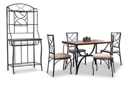 Baxton Studio Valletta Wood and Metal 6-Piece Transitional Dining Set with Baker%27s Rack Baxton Studio Valletta Wood and Metal 6-Piece Transitional Dining Set with Baker%27s Rack, wholesale furniture, restaurant furniture, hotel furniture, commercial furniture
