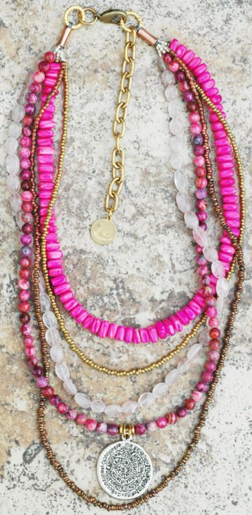 necklace: Jewelry Pink, Beads Necklaces, Pink Necklaces, Everyday Necklace, Layered Necklaces, Hot Pink, Style Jewelry, Boho Style, Multi Strands