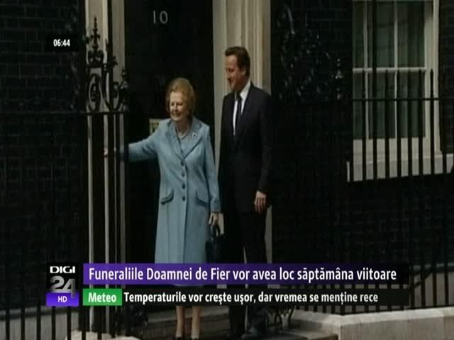 Funeraliile fostului premier Margaret Thatcher vor avea loc în aproximativ zece zile. Ea a murit ieri, la vârsta de 87 de ani, ca urmare a unui atac cerebral. Englezii îşi vor lua rămas bun într-o ceremonie care se va tine la catedrala Saint Paul, loc de regulă rezervat Casei Regale. Totuşi, nu va fi vorba despre funeralii somptuoase.