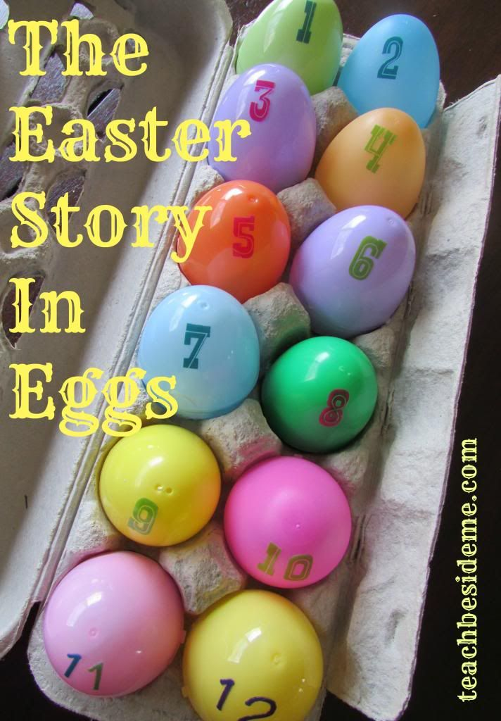 Easter story in eggs-instructions with scriptures and items to put in each egg