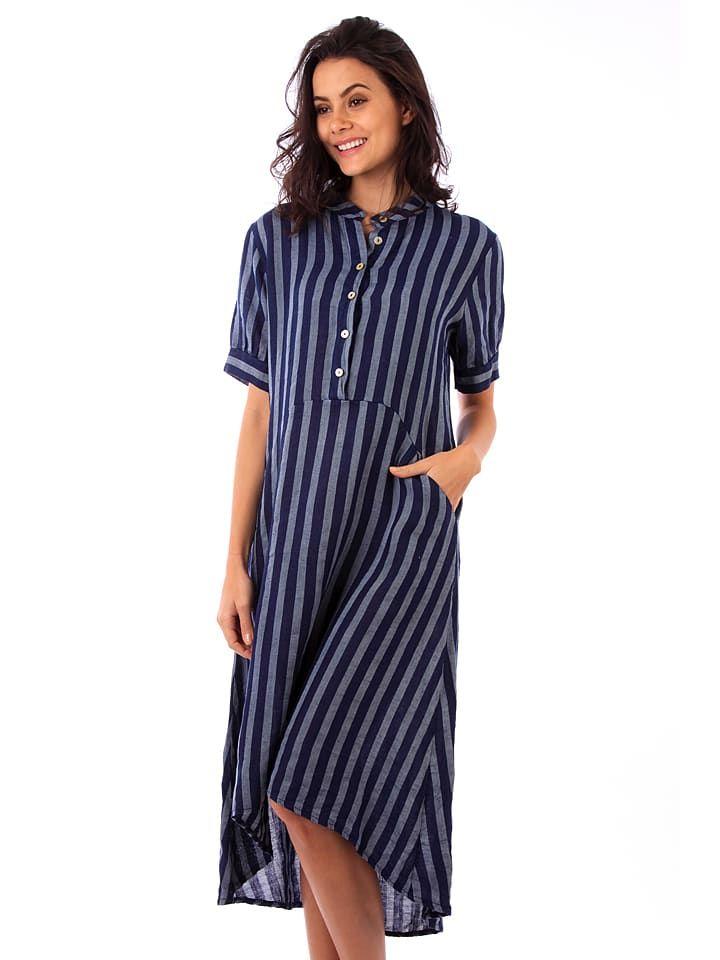 Lin Passion Leinen-Kleid in Dunkelblau – 76% | Größe 34/36 | Damen kleider