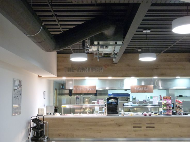 Hi-Velocity system suspended from ceiling in canteen area.