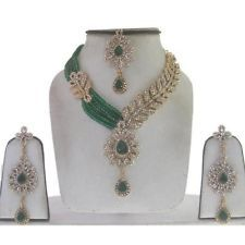 GOLD PLATED KUNDAN FASHION JEWELLERY PARTY WARE BRIDAL NECKLACE EARRING