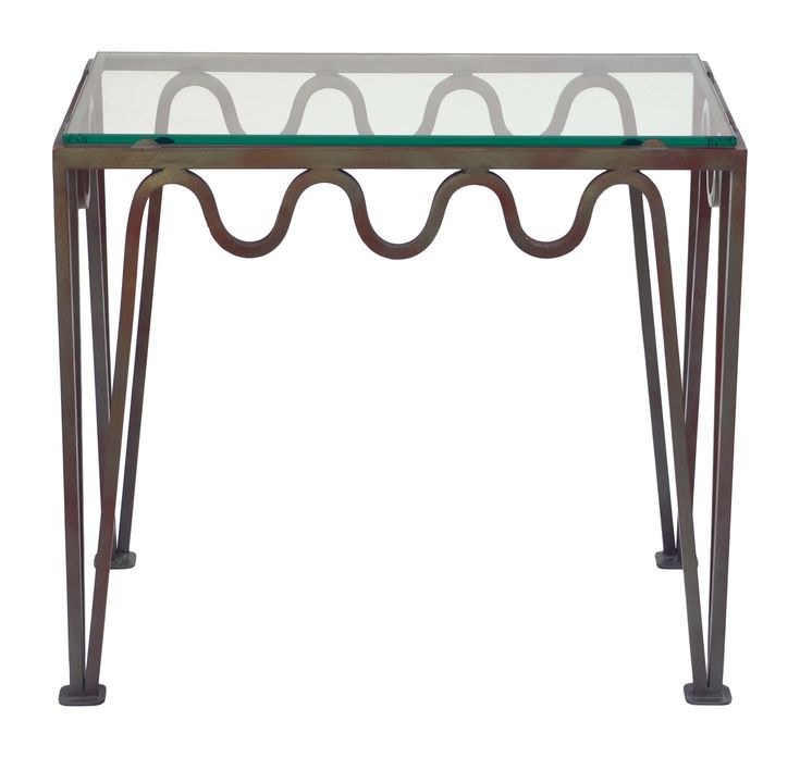 Buy The 'Méandre' Verdigris Iron and Glass Side Table by Design Frères - Quick Ship designer Furniture from Dering Hall's collection of Contemporary Mid-Century / Modern Transitional Art Deco Tables.