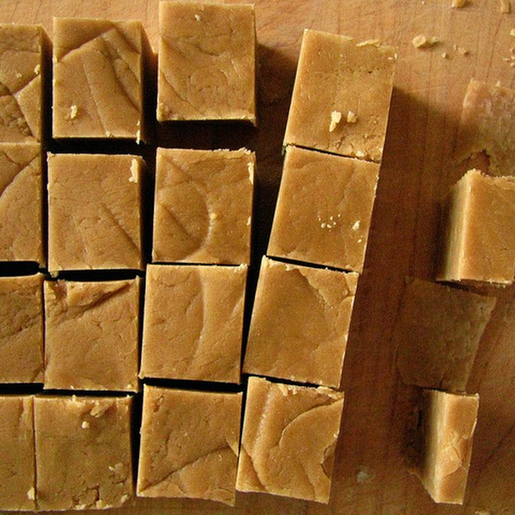 Grandpa's Peanut Butter Fudge Recipe Original recipe makes 36 1-inch squares    2 cups brown sugar  2 cups white sugar   1 cup milk   1 1/2 cups creamy peanut butter  1 tablespoon margarine  1 1/4 teaspoons vanilla extract