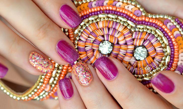 Nail art bohémien assorti à mes sandales en perles