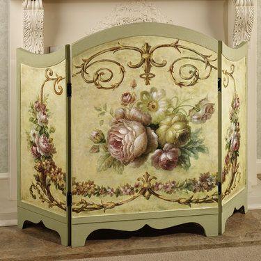 victorian fireplace screens | Victorian Rose Fireplace Screen Multi Pastel