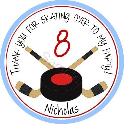 Ice Hockey Personalized Stickers - Favor Labels, Party Favor, Address Labels, Gift Tag, Birthday Stickers, Sports, Hockey - Choice of Size. $6.00, via Etsy.