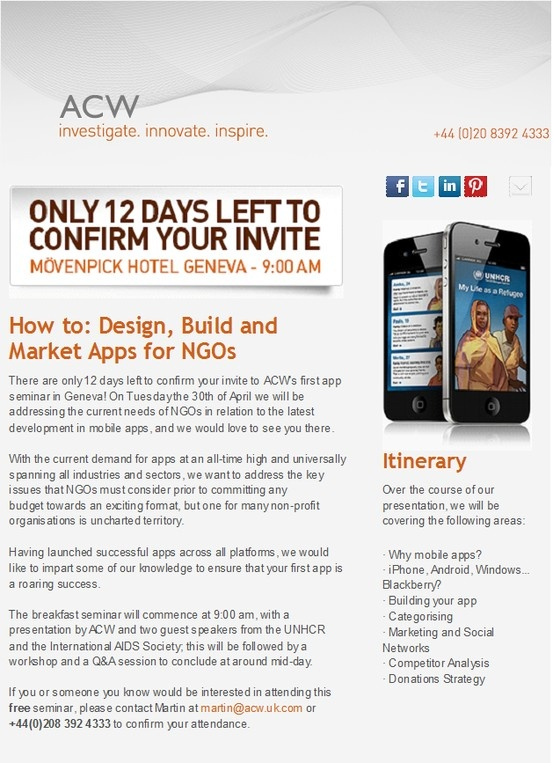 ACW are hosting their first NGO app seminar in Geneva on the 30th April!  #nonprofit #apps  #UNHCR #IAS