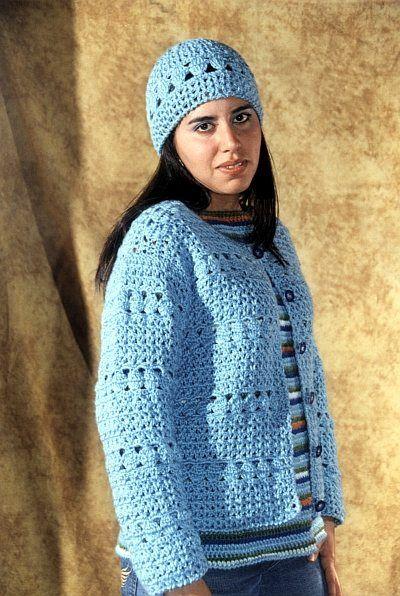 Campera y Gorro en tejido a crochet.