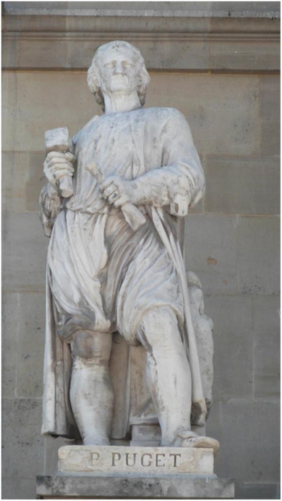 Les statues du Louvre - La statue de Pierre Puget (1620-1694) est l'oeuvre d'Antoine Etex en 1857. Cour Napoleon du Louvre