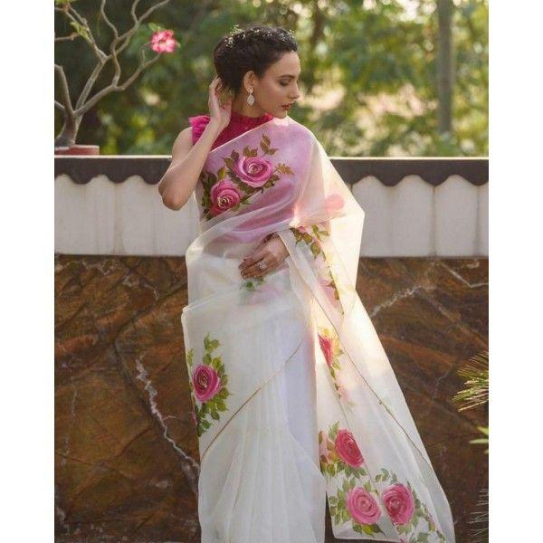 White Saree Moss organza Sari with complete heavy digital printed Winter Saree