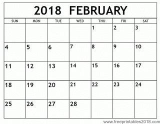 Free Printable Calendar February 2018