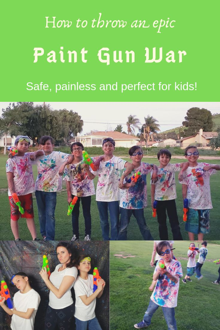 "Paint Gun War Party: a fun and pain free way to throw a ""paintball"" party for kids! #paintballing #paintfight #watergunfights #kidspartyideas"