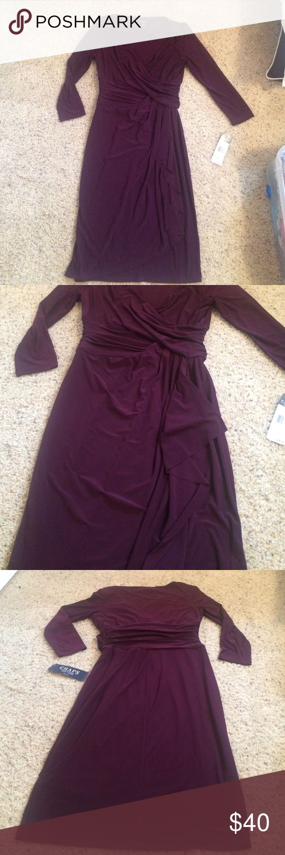 NWT Purple Long Sleeve dress Stretchy and flowy dress. Quarter length sleeves. V neck. Layered in the front Chaps Dresses Long Sleeve