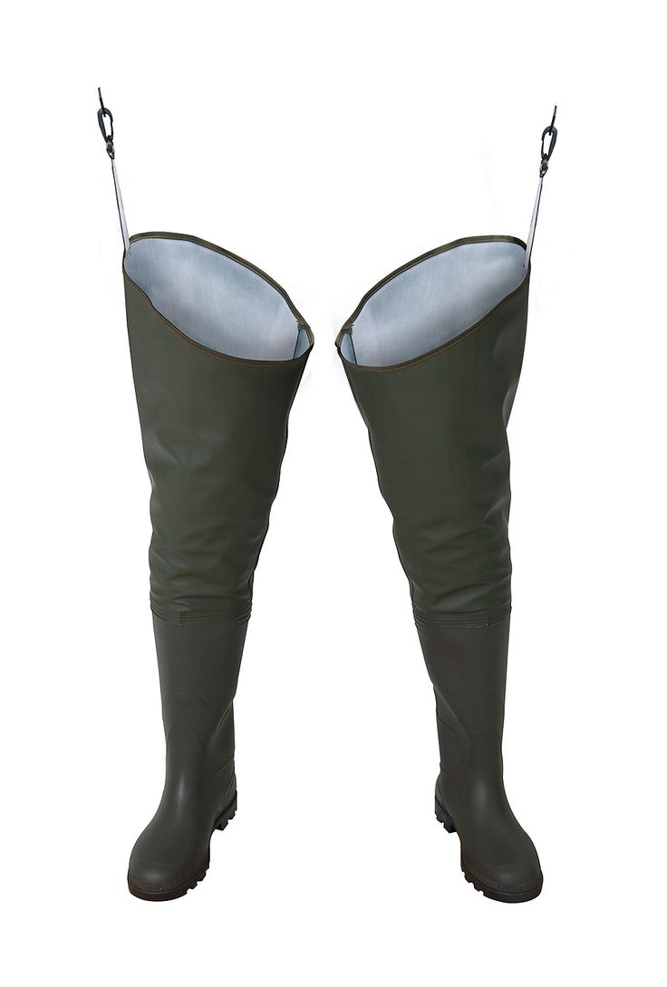 "WATERPROOF THIGH WADERS ""STANDARD"" Model: WR02 The thigh waders have been produced with high quality PVC boots welded in. The product has been made on waterproof strong fabric Plavitex Heavy Duty. The model has been designed to be used especially by professionnal fishermen and for leisure fishing activities. It's a good protection against water. High frequency welding makes seams stronger."