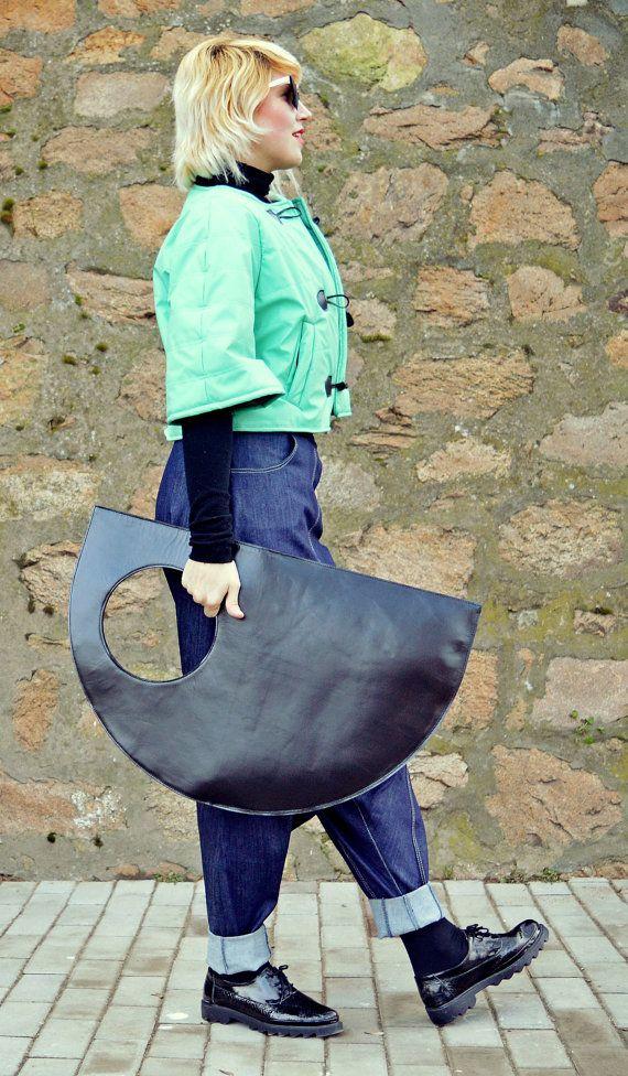 Genuine Leather Bag / Extravagant Black Leather Bag / Natural Leather Bag TLB01 JAZZ UP!