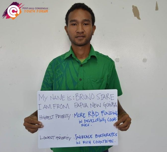 This is Bruno from Papua New Guinea. After attending a youth forum he ranked 'more research and development funding in developing countries' as his top priority. A low priority for Bruno is 'increasing birthrates in rich countries.'