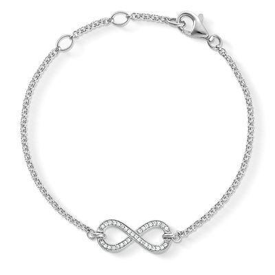 Bracelet créateur infini composé d'un pendentif infini strass monté sur une fine chaine en métal argenté . Bracelet reglable convient à tous les poignets. Le pendentif infinity mesure 2 cm.