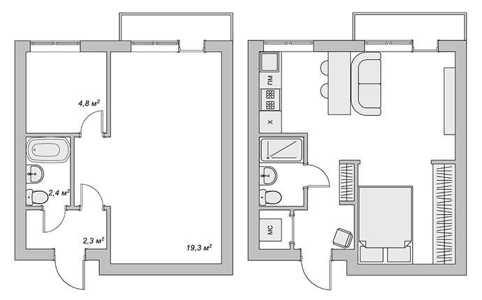 Планировка квартиры-студии ~29m2