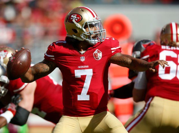 Buccaneers vs. 49ers:     October 23, 2016  -  34-17, Buccaneers  -     San Francisco 49ers starting quarterback Colin Kaepernick (7) throws against the Tampa Bay Buccaneers in the second quarter of an NFL game at Levi's Stadium in Santa Clara, Calif., on Sunday, Oct. 23, 2016. (Nhat V. Meyer/Bay Area News Group)