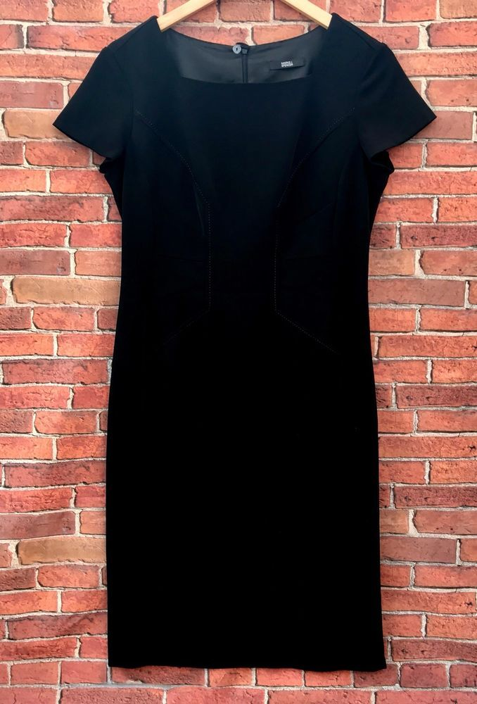 Marks & Spencer womens dress fully lined detailed torso pencil square neck uk 12